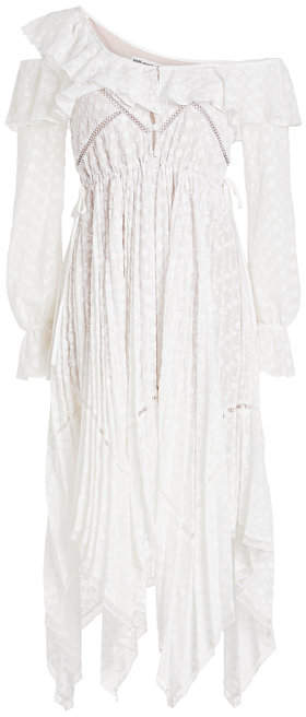 Self-Portrait Off-Shoulder Daisy Embroidered Lace Dress