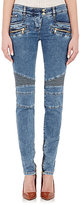 Balmain Women's Moto Jeans-BLUE
