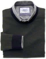 Charles Tyrwhitt Dark Green and Navy Stripe Merino Wool Crew Neck Jumper Size Small