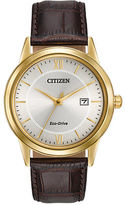 Citizen Strap Collection Goldtone-Finished Stainless Steel Steel Leather Strap Watch
