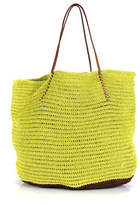 Buji Baja Lime Green Brown Leather Handle Woven Straw Tote Handbag