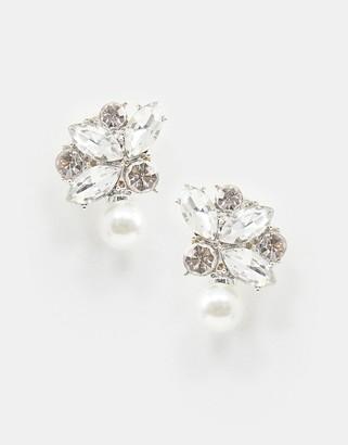 True Decadence crystal drop earrings with pearl