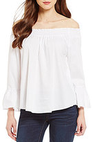 Copper Key Poplin Off-The-Shoulder Ruffle Bell Sleeve Smocked Neck Blouse