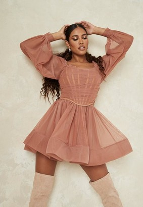 Missguided Taupe Tulle Corset Drape Balloon Sleeve Skater Dress