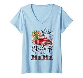 Womens My Greatest Blessings Call Me Mimi Funny Christmas V-Neck T-Shirt