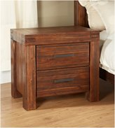 Modus Designs Furniture Meadow Two Drawer Solid Wood Nightstand, Brick Brown