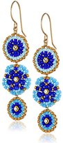 Miguel Ases Gold-Filled and Blue Created-Quartz Drop Earrings