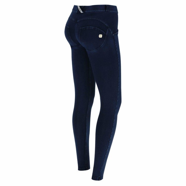 Freddy WR.UP Regular-Rise Super Skinny Trousers in Dark Jersey Denim - Dark Jeans-Blue Seam - Medium