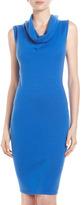 Neiman Marcus Cashmere Cowl-Neck Dress, Cobalt