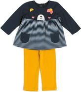 Cutie Pie Baby Blue & White Stripe Bear Tee & Mustard Pants - Infant