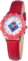 Marvel Spiderman Tween Red Leather Strap Watch