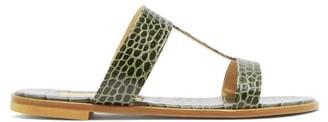 Avec Modération Avec Moderation - Aruba Crocodile-effect Leather Sandals - Womens - Dark Green