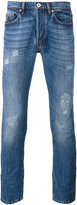 Valentino distressed skinny jeans - men - Cotton/Calf Leather/Spandex/Elastane - 28