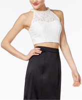 Speechless Juniors' Embellished Neck Lace Crop Top