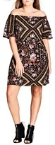 City Chic Plus Size Women's Rose Scarf Off The Shoulder Tunic