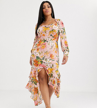 Pretty Darling Plus floral square neck midi dress