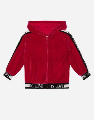 Dolce & Gabbana Smooth Velvet Zip-Up Hoodie