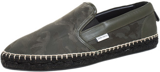 Jimmy Choo Green Camo Print Nylon And Leather Vlad Slip On Sneakers Size 40.5