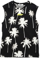MSGM Palm Tree Printed Cotton Jersey Tank Top