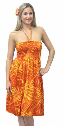 LA LEELA Super Soft 3 in 1 Strapless Cocktail Dress Short Skirt Maxi Sundress Women Plus Size Beach Bikini Swimsuit Bandeaux Cover up Tube Short Loungewear Tunic Dress Pumpkin Orange Ladies