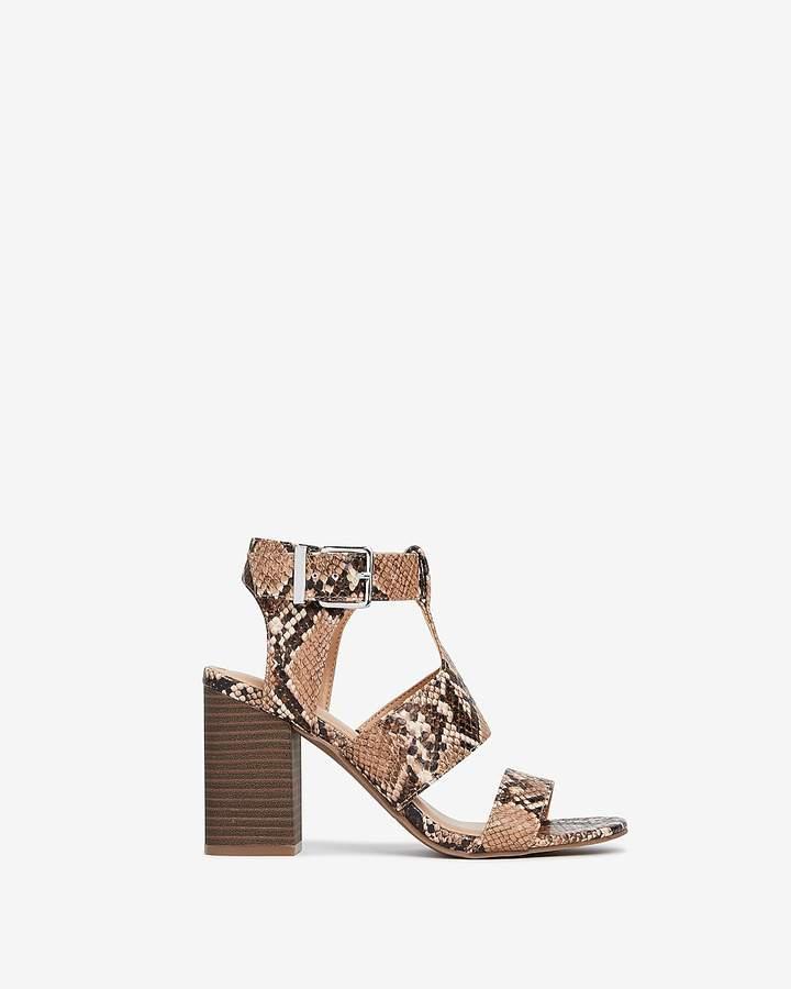 Express Snakeskin Print Strappy Heeled Sandals