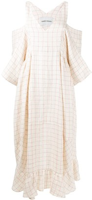 Henrik Vibskov Squid cold-shoulder checked midi dress