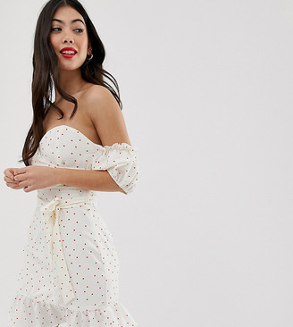 Glamorous Petite bardot mini dress with puff sleeves in spot-White