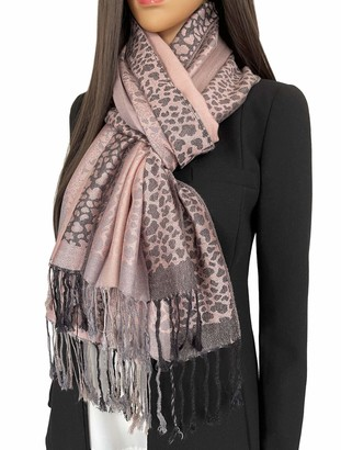 The Accessory Co. Women Leopard Print Shawl Scarf - Pashmina Wrap Large Long Ladies Scarves Wearable Blanket Scarf Animal Leopard Print Gifts womens winter scarfs Evening Stole