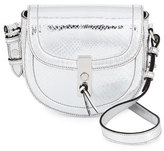 Altuzarra Ghianda Mini Metallic Python Saddle Bag, Silver