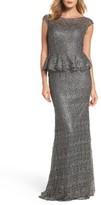 La Femme Women's Embellished Lace Peplum Gown