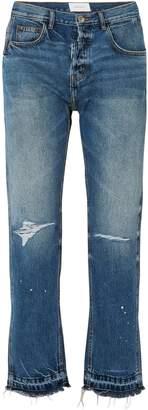 Current/Elliott The Throwback Original Distressed High-rise Straight-leg Jeans