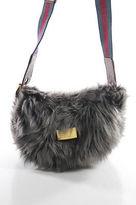 Marc by Marc Jacobs Gray Faux Fur Crossbody Shoulder Handbag Size Small