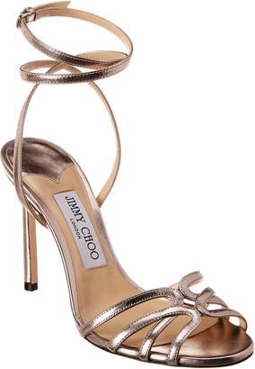 Jimmy Choo Mimi 100 Metallic Leather Sandal