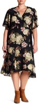 Bobeau Wrap Printed Floral Dress (Plus Size)