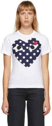 Comme des Garcons White and Navy Big Heart T-Shirt