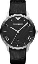 Emporio Armani AR1611 stainless steel and leather watch