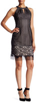 London Times Sleeveless Lace Fringe Hem Dress
