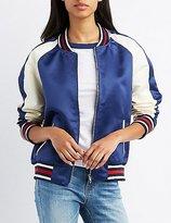 Charlotte Russe Satin Varsity Colorblock Bomber Jacket