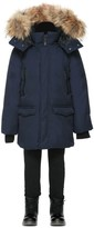 Mackage Jo Winter Down Knee Length Coat With Fur In Navy (8-14 Yrs)