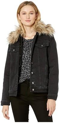 Mavi Jeans Karla Boyfriend Jacket in Smoke Fake Fur (Smoke Fake Fur) Women's Jacket