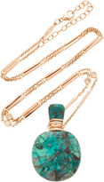 Jacquie Aiche Medium Round Turquoise Potion Bottle Necklace On Smooth Bar And Diamond Chain