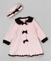 Good Lad Pink Velvet Bow Fleece Swing Coat & Hat - Infant