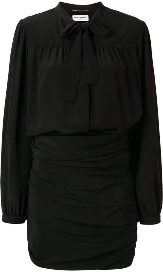 Saint Laurent ruched pussy bow shirt dress