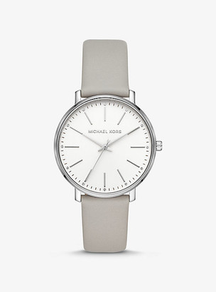 Michael Kors Pyper Silver-Tone and Leather Watch - Grey