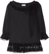 RED Valentino Lace and tulle-trimmed cotton-blend top