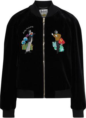 Stella McCartney + The Beatles Embroidered Cotton-velvet Bomber Jacket