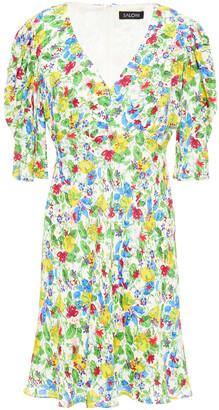 Saloni Colette Gathered Floral-print Crepe Mini Dress