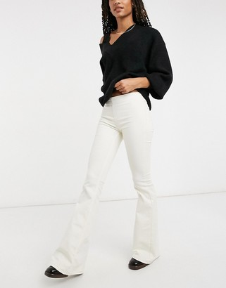 Free People Penny pull-on flared jeans in cream