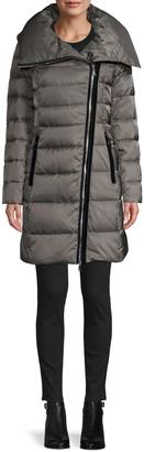 Tahari Brooklyn Asymmetrical-Zip Down Puffer Coat