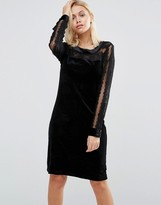 B.young Velvet Dress with Lace Yoke and Arms